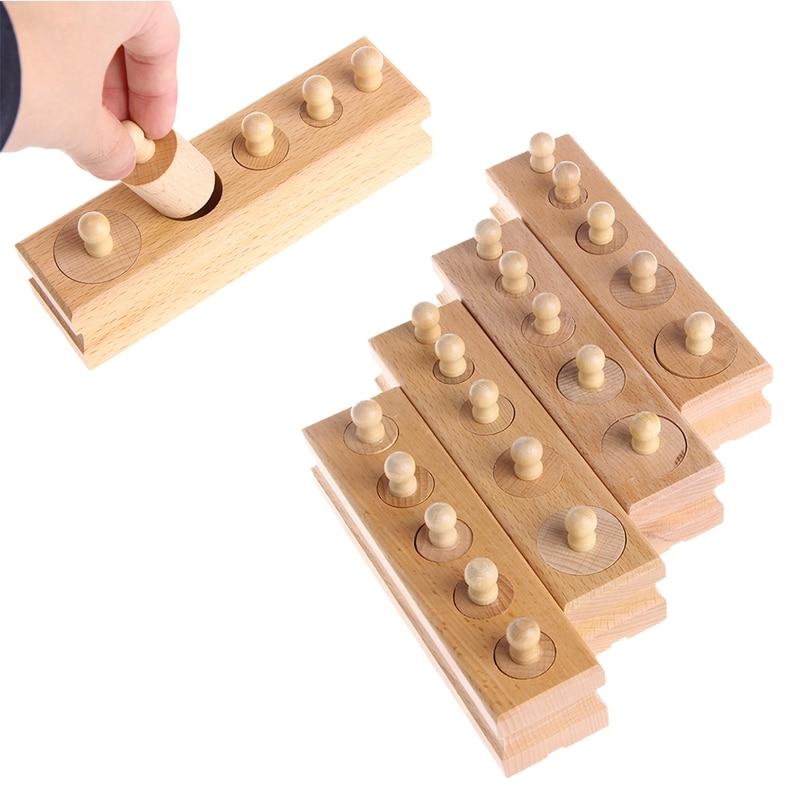 2018 Educational Wooden Kid Montessori Cylinder Socket Early Development Teaching Toy