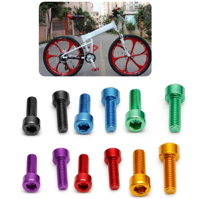 1 Pair Bike Water Bottle Cage Bolts M5 Aluminium Alloy Hex Socket Tapping Screws