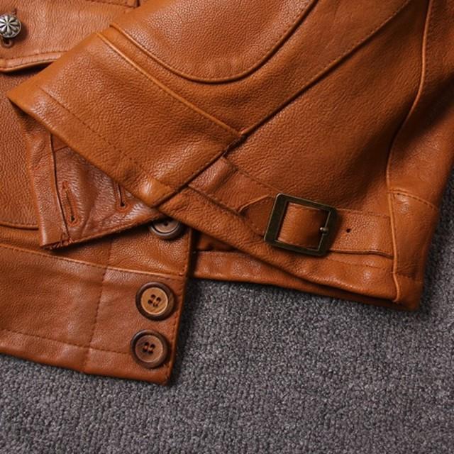 Stałe szczupła rocznika kurtka z prawdziwej skóry męskie klasyczne klapy pojedyncze piersi 100% skóry wołowej prawdziwe płaszcz skórzany moda mężczyzna ubrania