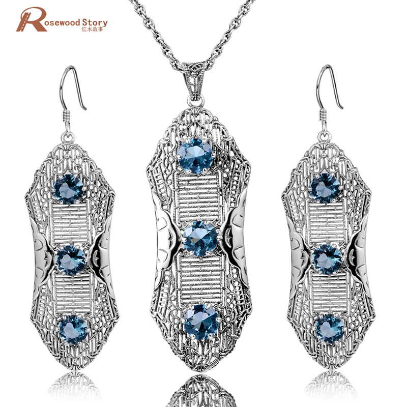 Fine Jewelry Sets Round Pendant Vintage Earrings For Women Solid 925 Sterling Silver Set Created Topaz Blue Rhinestone Crystal ethiopian wedding jewelry sets blue rhinestone crystal for women 925 sterling silver earrings ring pendant bridal jewelry set