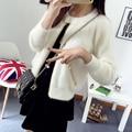 2074 tiro en el otoño de 2015 nueva cremallera chaqueta de Cuello de pelo de metal Insignia mujeres Coreanas