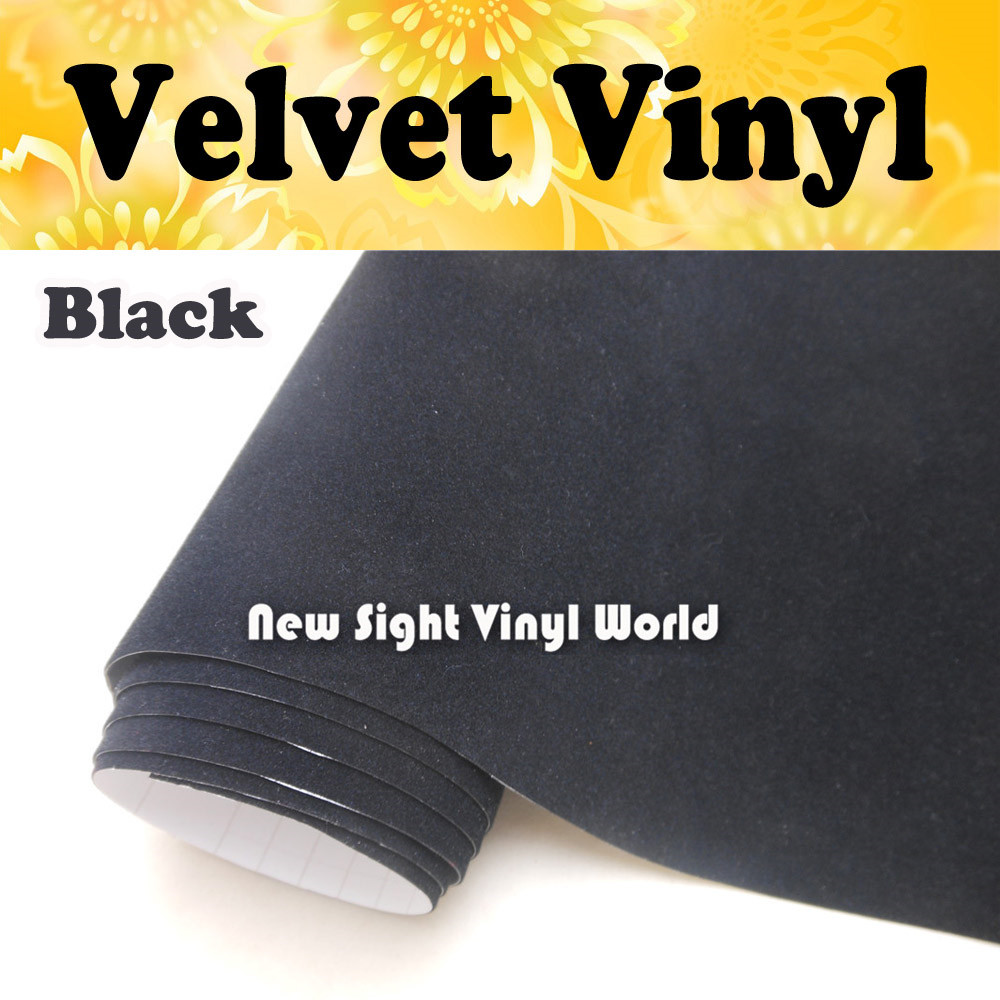 Black Velvet Vinyl Film Black Suede Vinyl Sticker For Internal Decoration Air Free Bubble Size 1