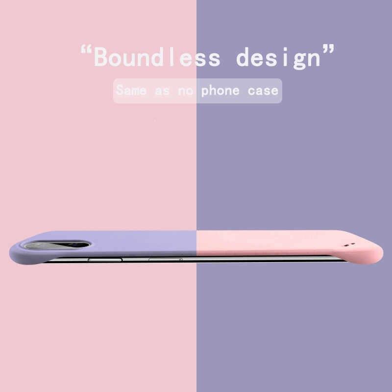 Lovebay Slim Scrub Hard PC Tanpa Bingkai Ponsel Case Untuk iphone 7 6 6S 7 Plus XR X XS 11 Pro Max Solid Matte Penutup Belakang Tanpa Batas