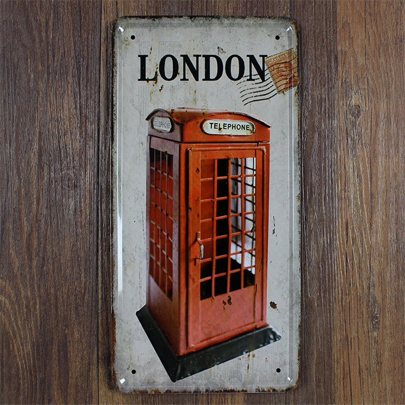 London Telephone Vintage Home Decor Shabby Chic Bar Coffee Decor 15*30 Cm  Metal Sign