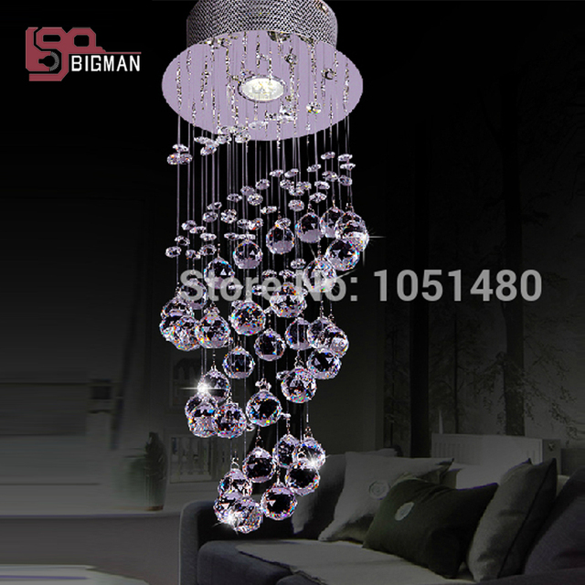 New Round Led Crystal Chandelier Hallway Lamp Dia200 H600mm Modern Lighting
