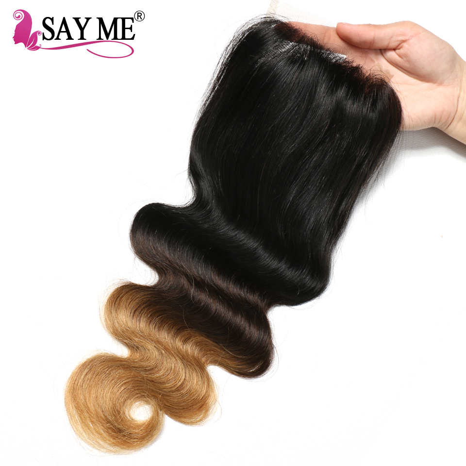 SAY ME Ombre Lace Closure Brazilian Body Wave Closure 1B/4/27 30 Blonde Free Part 4x4 Three Tone  Remy Human Hair Closure-in Closures from Hair Extensions & Wigs    1
