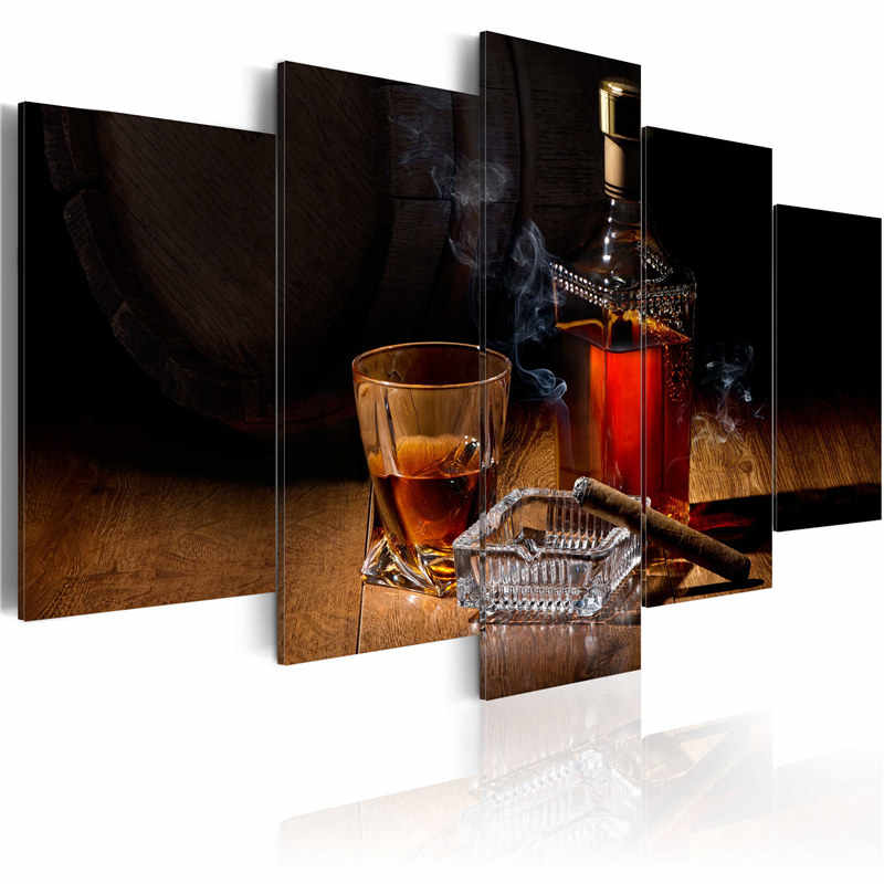 5 Pieces Modern Abstract Canvas Print Cigars Painting Wine Posters and Prints Glasses Wall Art Modular Pictures for Bar Decor