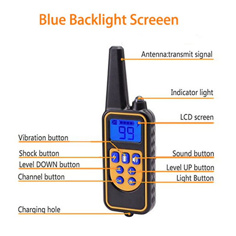 Rechargeable Waterproof Electronic Dog Training Collar Stop Barking LCD Display 800m Remote Electronic Shock Training Collars8