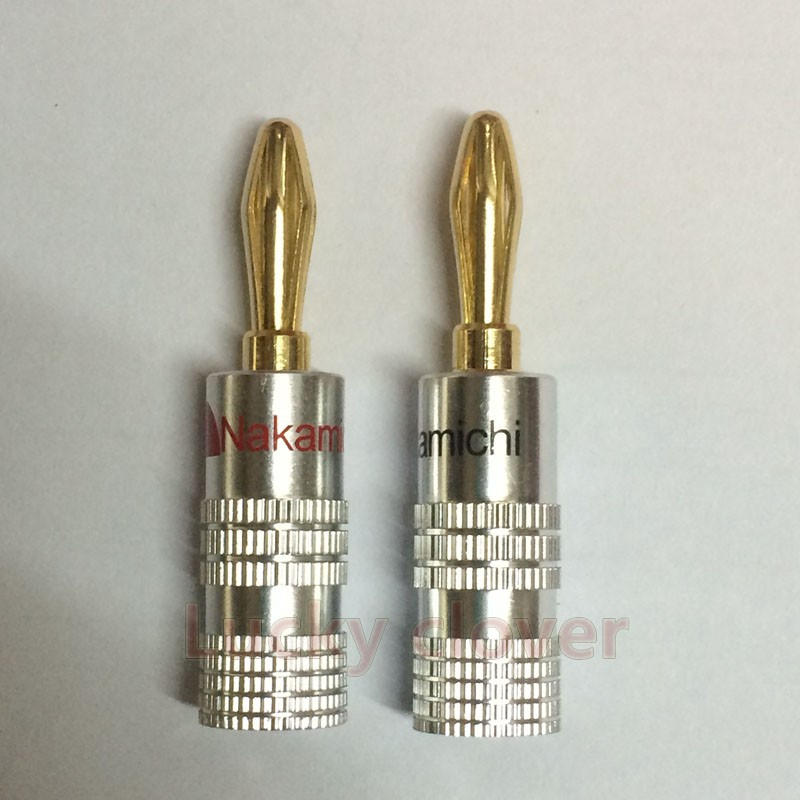 100Pcs High Quality New 24K Gold Nakamichi Speaker Banana Plugs For Video Speaker Connector Black Red