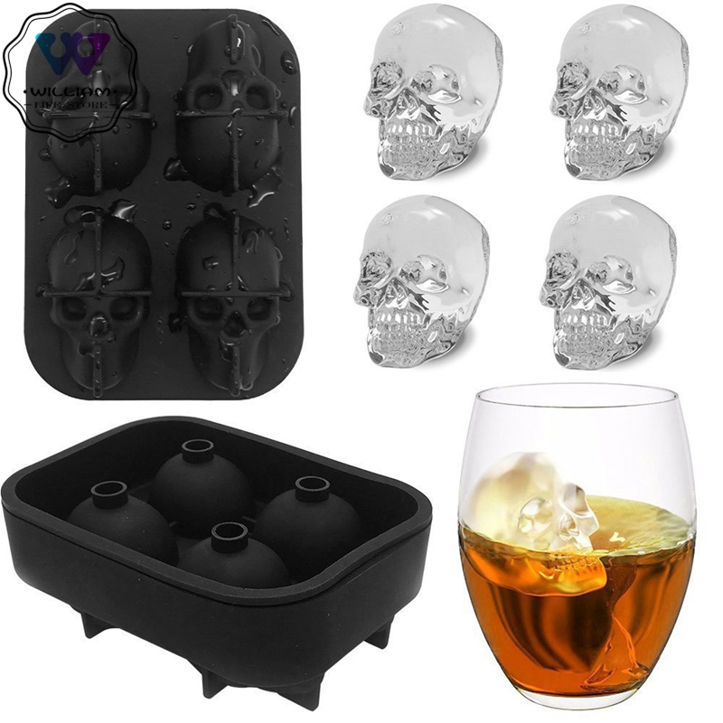Форма для льда, силиконовая 3D форма в виде черепа, 4 полости, инструмент «сделай сам», силиконовая форма для виски, вина, коктейля, льда