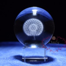 Beautifull Home Decoration 3D Dandelion Crystal Glass Ball with Stand Crafts Fengshui Paperweight as Chirstams Gifts