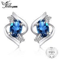 Genuine London Blue Topaz Stud Earrings 100 Real Pure 925 Sterling Silver Oval Gemstone Earrings Women