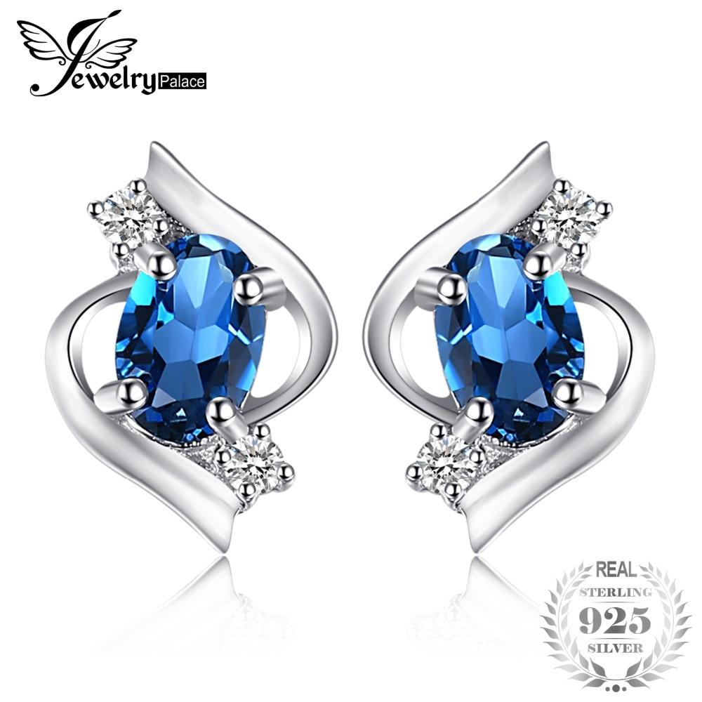 JewelryPalace Oval 1.1ct Natural London Blue Topaz Stud Earrings 925 Sterling Silver Gemstone Jewelry Earrings Women 2018 Trendy pair of trendy rhinestone oval leaf earrings for women page 3