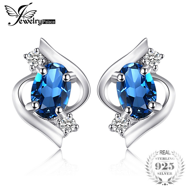 JewelryPalace Oval 1.1ct Natural London Blue Topaz Stud Earrings 925 Sterling Si