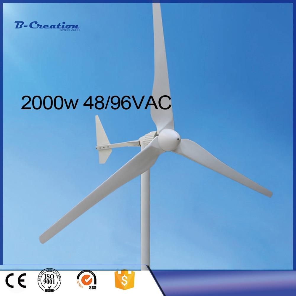 2017 Wind Power Generator Gerador De Energia 2000w Wind For Turbinen-generator 48v/96ac Turbine With Ce And Iso Certificates