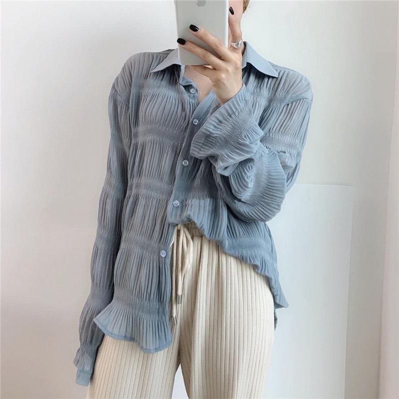 Alien Kitty Casual Folds Alternate Elegant Women Blouses Regular 2020 New Design Loose Slender Full Sleeves Free Shirts Female