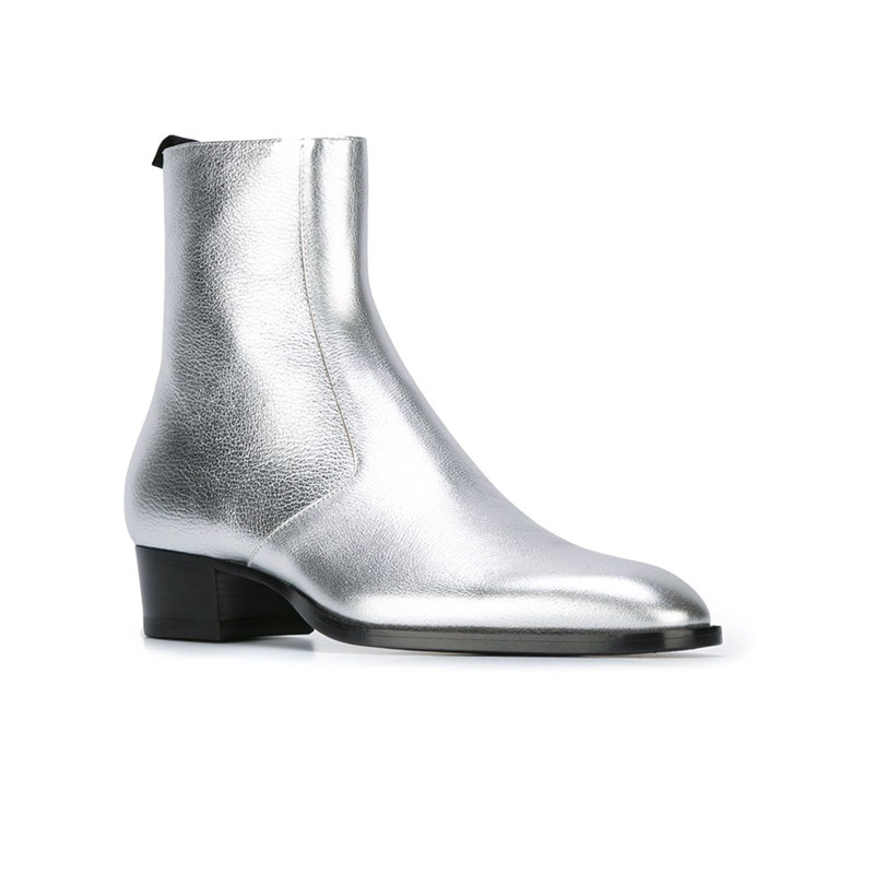 592d43b6d4ff Metallic Gold Silver Soft Leather Pointed Toe Anke Boots Stacked Chunky Heel  Chelsea Boots Street Fashion Men Shoes on Aliexpress.com