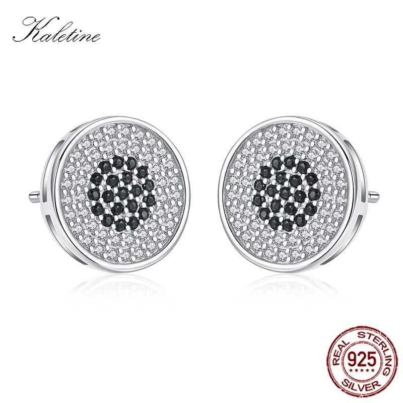 KALETINE Men Earrings Stud Round Stud Earrings Women Men 925 Sterling Silver Black CZ Brincos Jewelry Boucle Doreille KLTE080