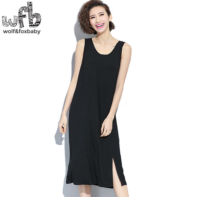 08cbf78dd9c66 Pregnant women Large size Stretch vest dress pure color skirt summer free  size