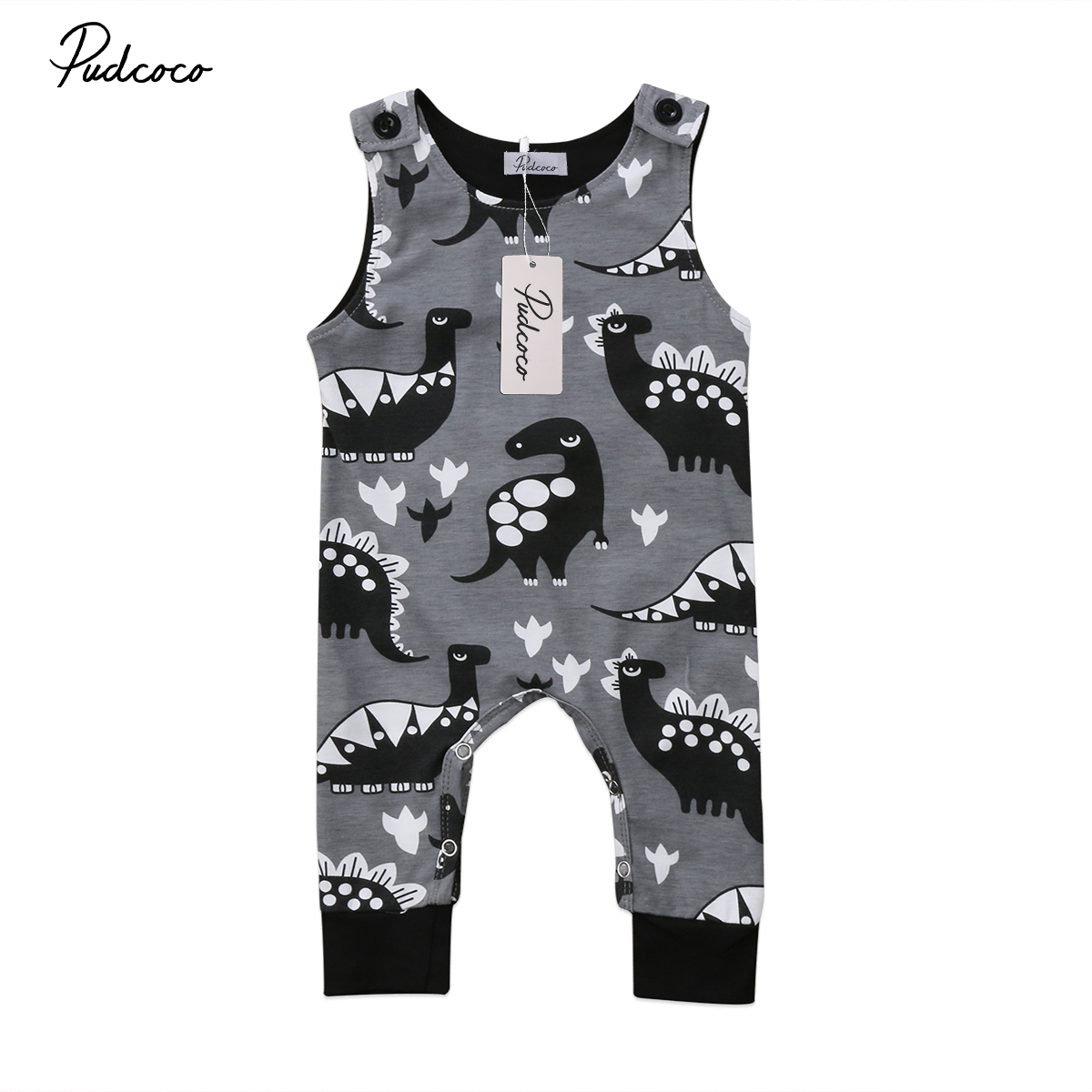 Pudcoco Newborn Infant Baby Boy Girl Dinosaur   Romper   Sleeveless Jumpsuit Playsuit One-Pieces Clothes Outfits