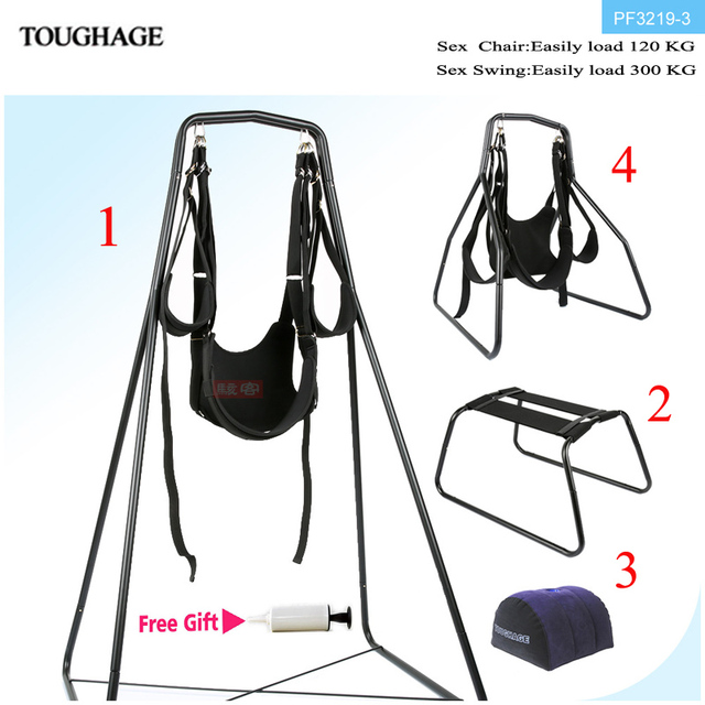 Toughage 4In1 Sex Swing Chair Pillow Adjustable Restraints Fetish Sex Position Bondage Nylon Flirt Essential Adult Sex Furniture