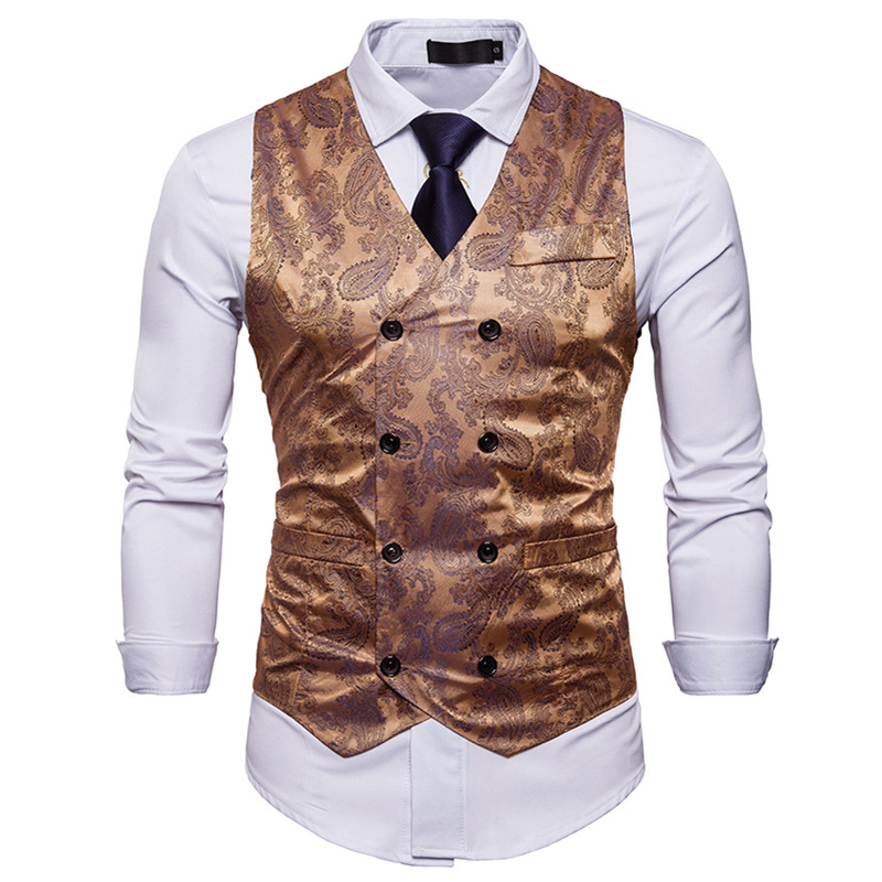 Men's Gentleman Formal Slim Fit Double Breasted Dress Suit Vests Fashion Paisley Print Men Vest Waistcoat Colete Masculino #5