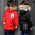 2016 children duck down outerwear Boys winter jacket kids coat with fur hood long warm thick winter coats