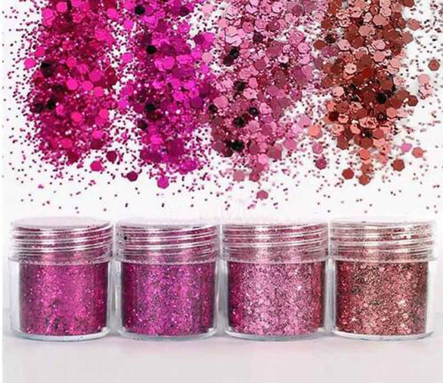 4 10Ml Shiny Rose Rode Serie Nail Glitter Poeder Voor Nail Art Uv Hars Sieraden Glitter Poeder Diy Maken ambachten Sieraden Maken