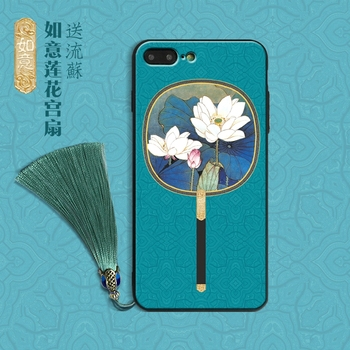 For iPhone 8/7 plus case Traditional Chinese Palace style For iPhone X 6 6s plus lotus flowers fan hard back cover + phone charm