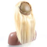 613 блондинка Цвет 360 Кружева Фронтальная застежка предварительно сорвал с ребенком волос бразильского прямые 100% человеческих волос когда л