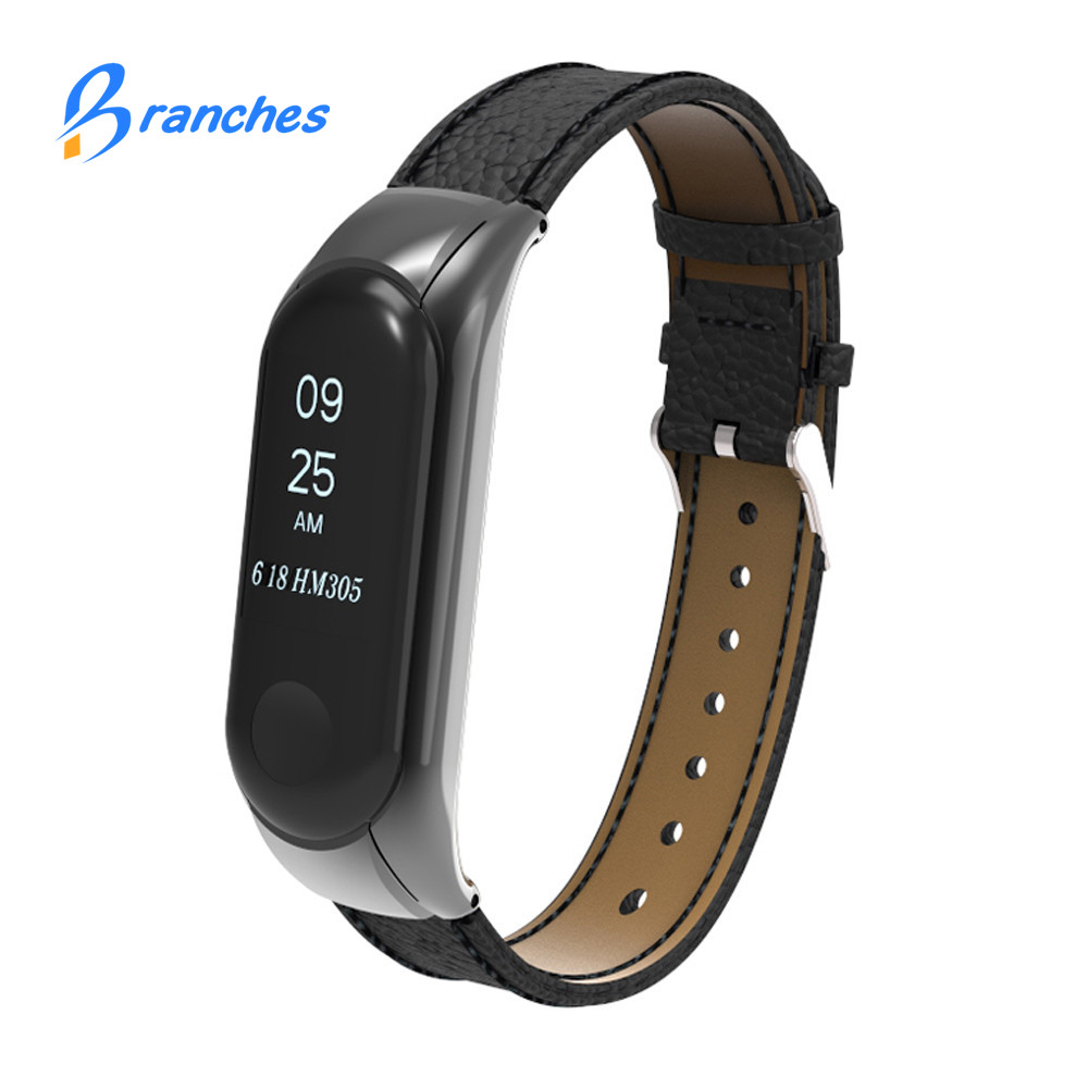 Mi band 3 Leather Metal Strap Wrist Strap watchband Watch Bands for xiaomi miband 3 Leather Strap Bracelet for xiaomi mi band 3 xiaomi mi band 3 strap черный