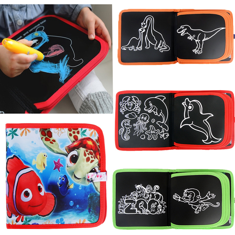 21.5*22CM Child Black DIY Drawing Toys Painting book with 3 chalk Kids portable Sketchpa ...