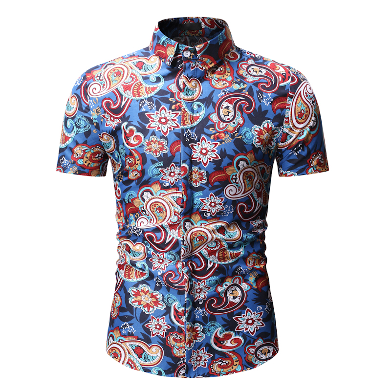 Mens Shirts Summer Short Sleeve Design Floral Shirt Leisure Holiday Beach Hawaiian Male Flower Print Camisa