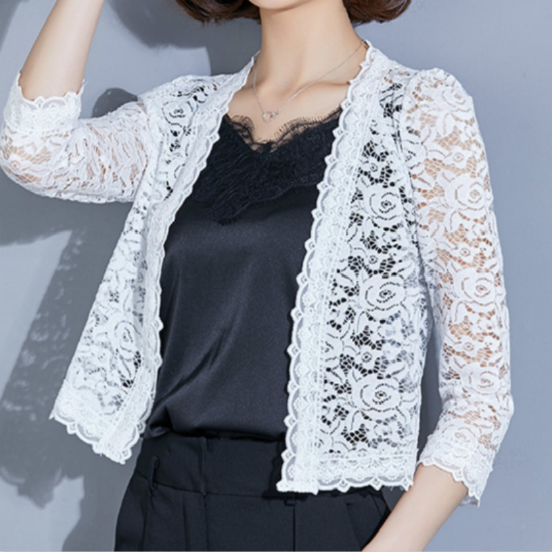 Lace summer Open Cape Casual Coat Kimono Loose Blouse Elegant Jacket See Through Long Sleeve Sun Blouse Beach Cover Ups Outwear