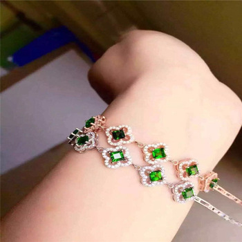 KJJEAXCMY fine jewelry 925 Pure silver inlay natural diophanous stone female style bracelet flowers four-leaf grass floret curve