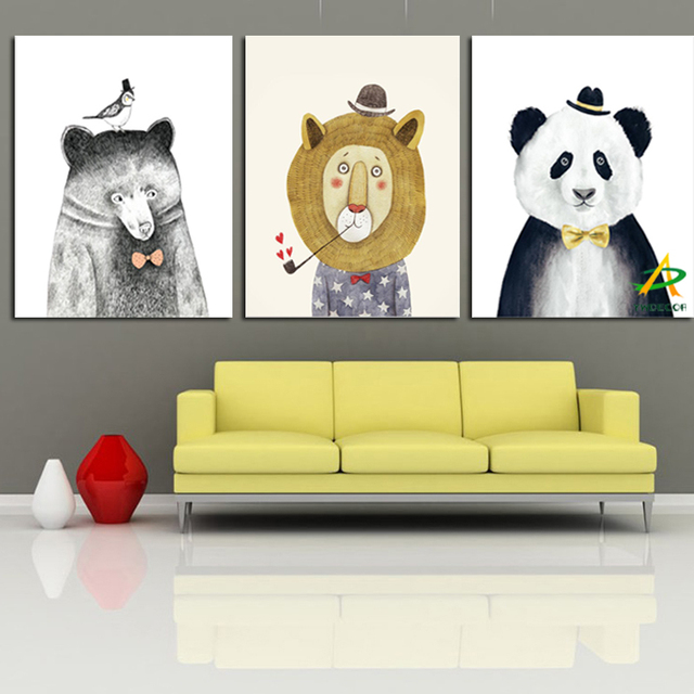 YWDECOR 3Panel Cute Pear Lion Panda Animal Canvas Painting For Kids ...