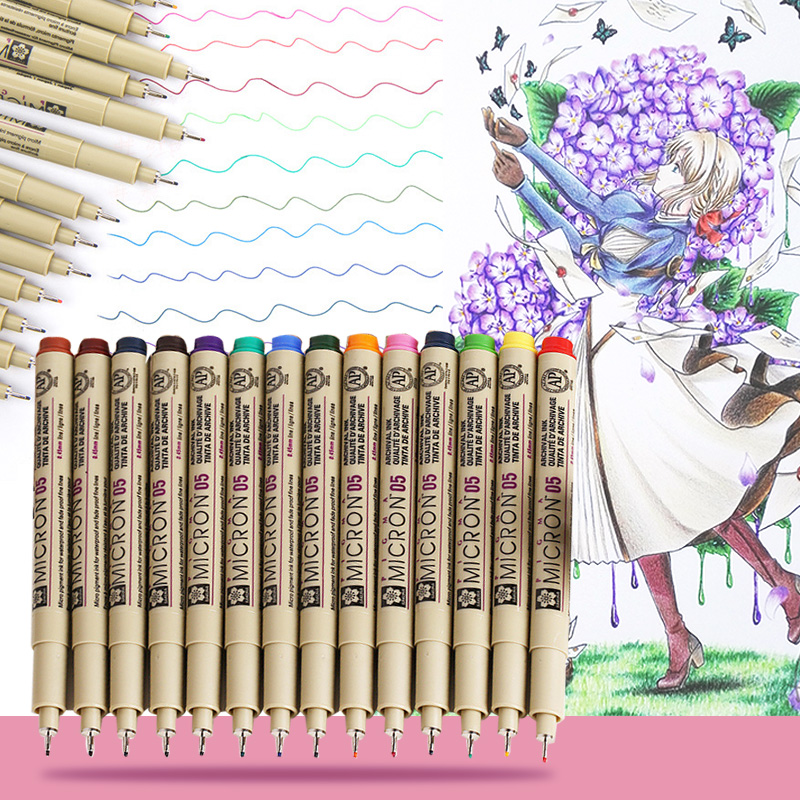 Colorful  Liner Pen Waterproof Smooth Fine Liner Pigma Micron Pen 0.5mm Drawing Marker Draw Liners Artist Markers Pens