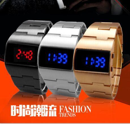 Prix pour 2015 Marque nouvelle Mode militaire numérique électronique Rouge et bleu LED montres homme montre-bracelet pour hommes montre