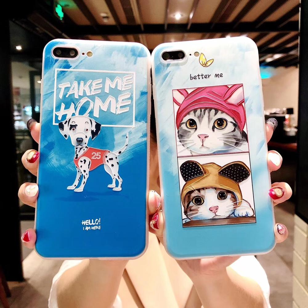7plus 10PCS Korea Lovely Pets Cat Dog Matte Phone Case Printed TPU Soft Back Cover Casing For iPhoneX 8 6s Body Shell Protection