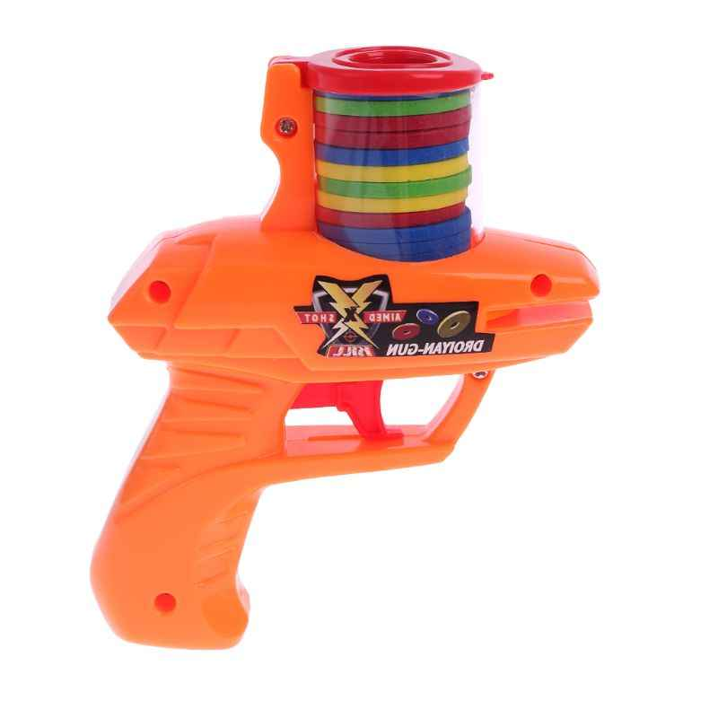 Free shipping Classic Children Flying Saucer Guns 15 EVA Soft Bullets Outdoor Party Kids Toys Xmas Gifts