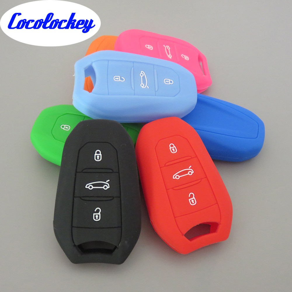 Cocolockey Silicone Car Key Cover Case for Peugeot 508 301 2008 3008 4008 407 408 for Citroen Elysee 3 Button No Logo free shipping zinc alloy leather cover case car styling smart key shell for peugeot 2008 3008 4008 308s 408 508 car remote