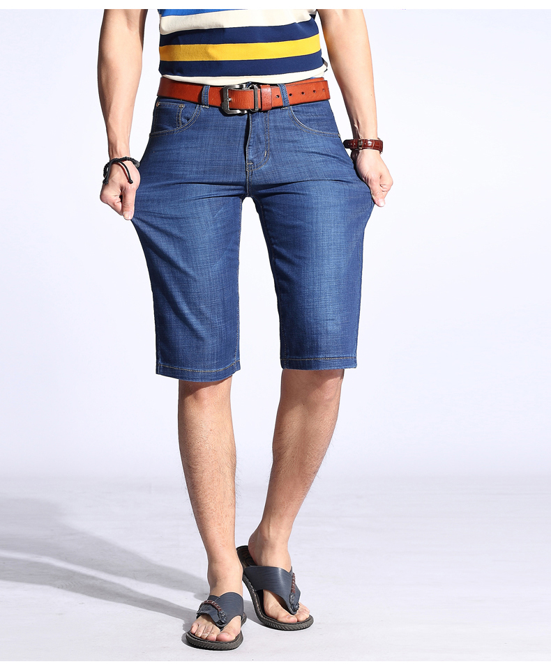 KSTUN Summer Shorts Men Jeans Straight Solid Blue Stretch Thin Regular Fit Business Casual Breathable Soft Material Mens Short Jeans 13