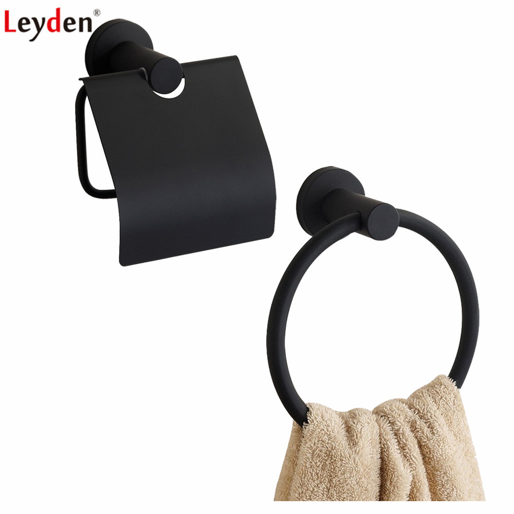 Leyden Blackened 304 Stainless Steel Bathroom Accessories Set Black Wall Mounted Toilet Paper Holder With Cover Towel Ring