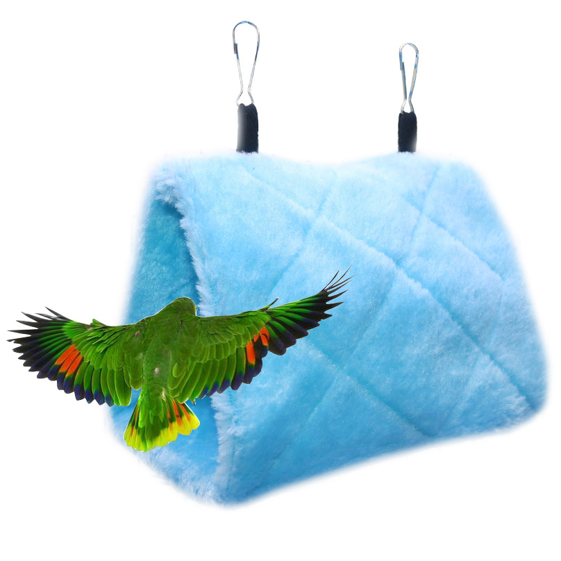 1 pcs Fashion Plush parrot Triangle nest Hanging nest Winter warm Triangle hanging Swing Hammock For Family Pet bird Supplies