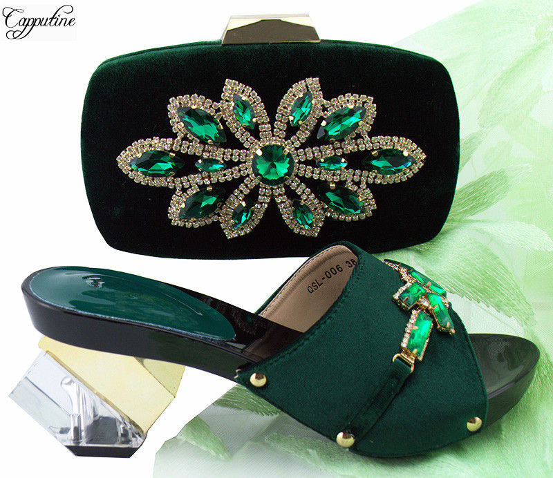 Wonderful dark green high heel pump shoes and purse bag set with shinning stones for party QSL006 heel height 7.5cm