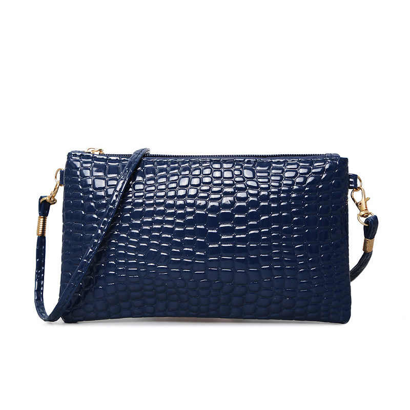 ... Women Simple Style PU Leather Small Shoulder Crossbody Bag Black  Crocodile Clutch Pouch Bags Ladie Evening ... 4b143ac892629