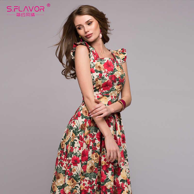S. SMAAK Vrouwen afdrukken feestjurk 2019 Populaire mouwloze vierkante kraag sexy lange vestidos Vrouwen Elegant lente zomer jurk
