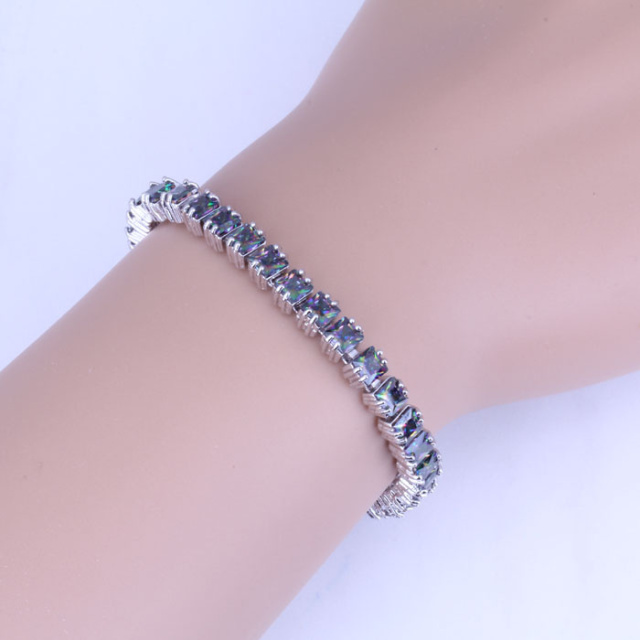 Brilliant Geometric Mystic Color Imitation Topaz 925 Stamp Silver Plated Chain & Link Bracelet for Womens Length 18.5 CM B0037