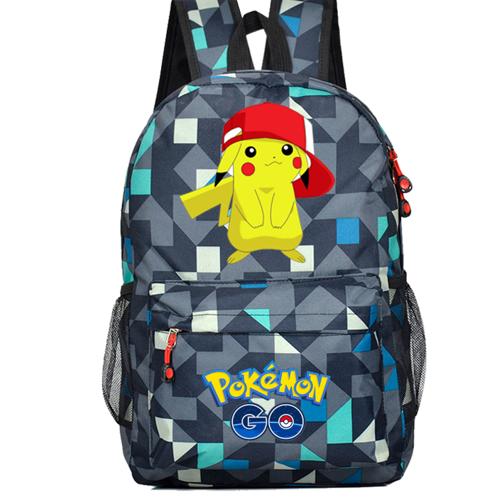Hot-sale Anime Pokemon Go Game Backpack Canvas Pikachu Men Women Shoulder Travel Bag  Boys Girls Teenagers Schoolbag Rucksack