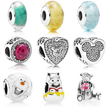 Silver Plated  Bead With Glass Bear Smile Face for Diy Women Pandora Charms Bracelets & Bangles